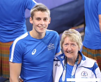 image at Commonwealth Games with coach Ann Dickson